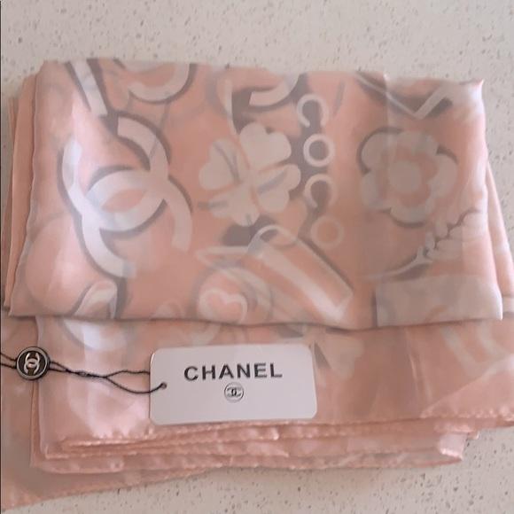 CHANEL Blush Pink 100% Silk Scarf